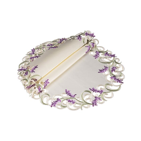 Brunon Lavender Lace Embroidered Cutwork Round Placemat (Set of 4) by One Allium Way
