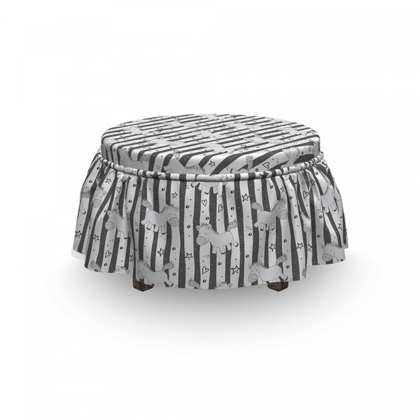 Funny Pony Stripes Doodle Ottoman Slipcover (Set Of 2) By East Urban Home