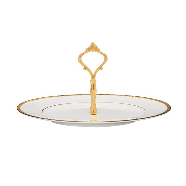 Rochelle Gold Handled Hostess Serving Tray by Noritake