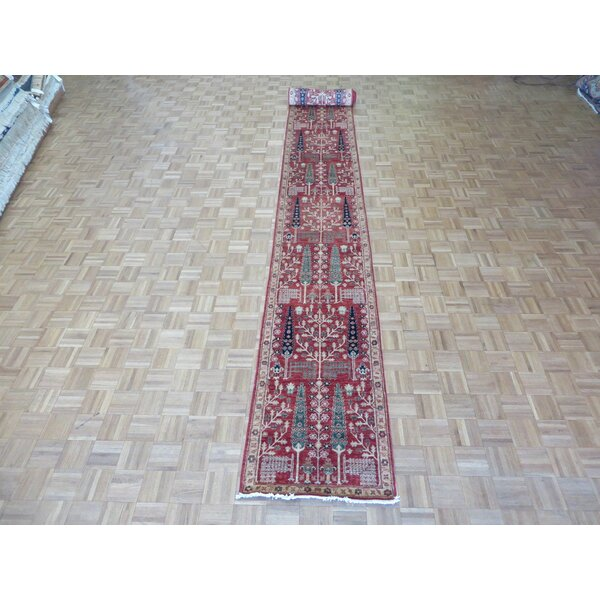 One-of-a-Kind Railsback Willow Tree Hand-Knotted Wool Red Area Rug by Astoria Grand