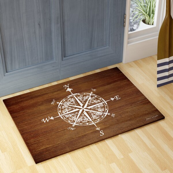 Jacksonville Compass on Wood Kitchen Mat by Beachcrest Home