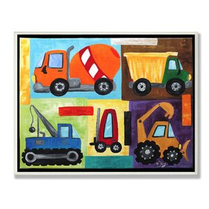 'Construction Trucks' Graphic Art Wall Plaque by Zoomie Kids