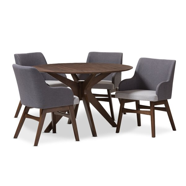 Monte Mid-Century Modern Wood Round 5 Piece Dining Set by Wholesale Interiors