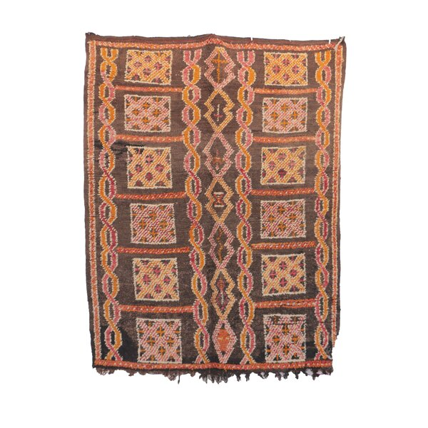 One-of-a-Kind Boujad Moroccan Hand-Knotted Wool Brown/Pink Area Rug by Indigo&Lavender