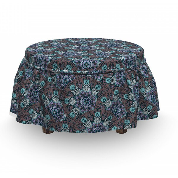 Swirls And Spirals Motif Ottoman Slipcover (Set Of 2) By East Urban Home