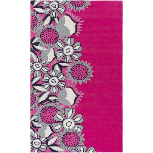 Cesar Hand-Tufted Pink/Gray Area Rug by Zoomie Kids