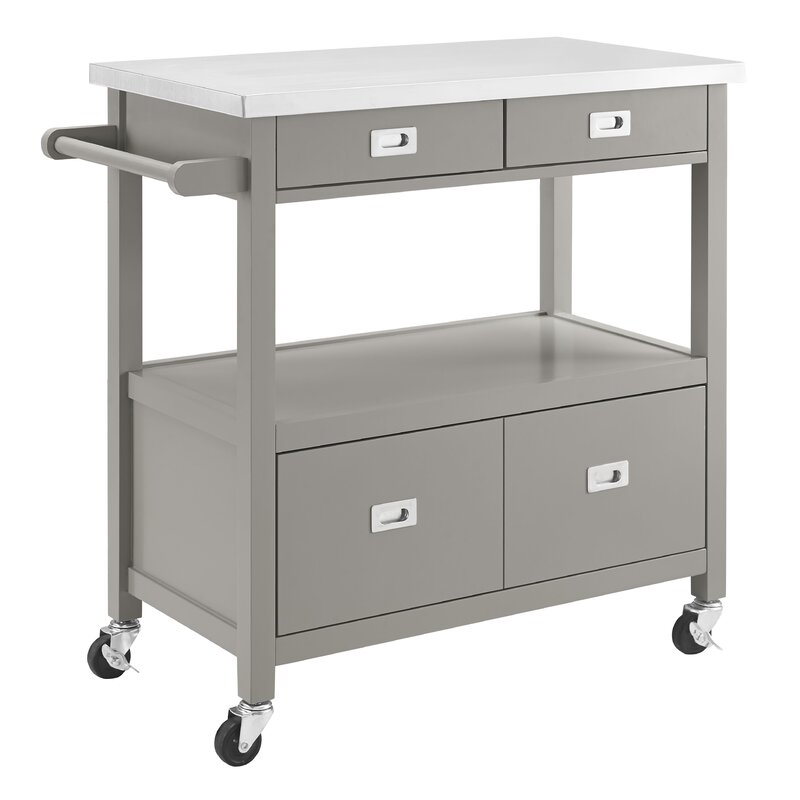 High Quality Eira Kitchen Island With Stainless Steel Top
