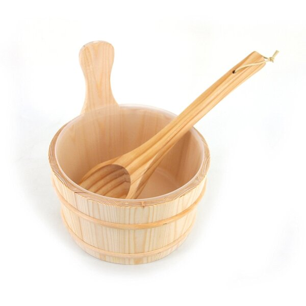 Aspine Wood Sauna Ladle and Bucket Set by ALEKO
