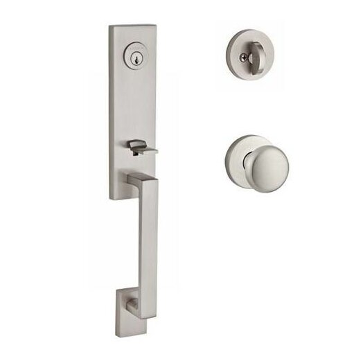 Seattle Single Cylinder Handleset with Round Door Knob and Contemporary Round Rose by Baldwin