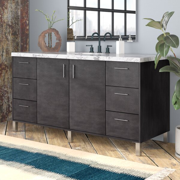 Cordie 60 Single Silver Oak Marble Top Bathroom Vanity Set by Orren Ellis