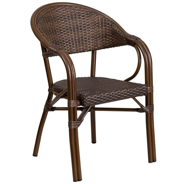 Shelie Modern Rattan Restaurant Patio Chair by Bayou Breeze