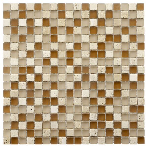 Sierra 0.58 x 0.58 Glass and Natural Stone Mosaic Tile in Brown/Cream by EliteTile