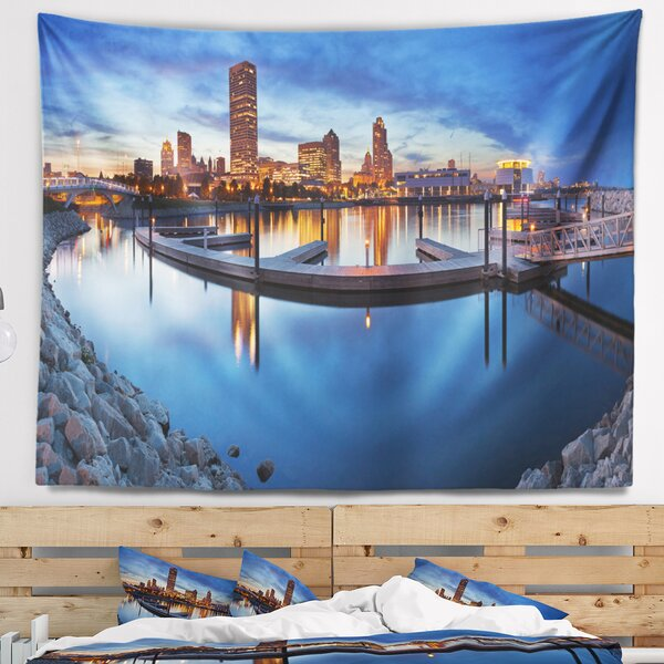 Cityscape Photo Milwaukee Panoramic View Tapestry and Wall Hanging by East Urban Home
