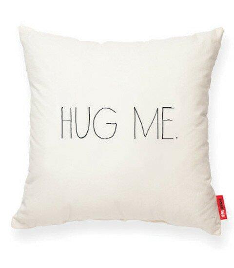 Expressive Hug Me Cotton Throw Pillow by Posh365