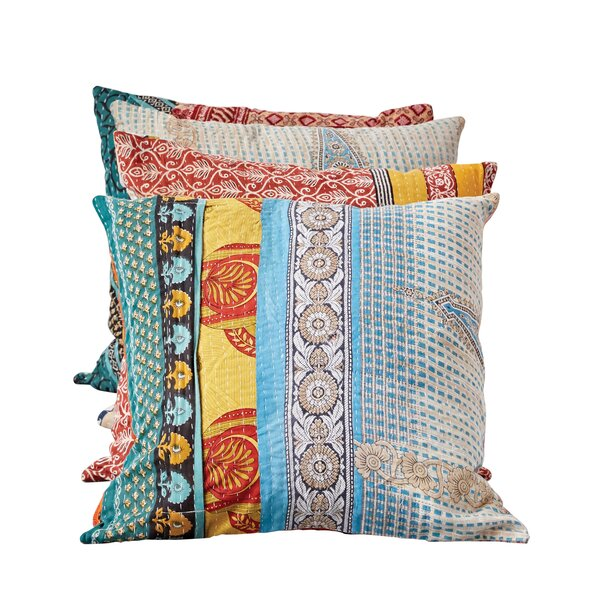 Millsboro Vintage Kantha Cotton Throw Pillow by Bungalow Rose