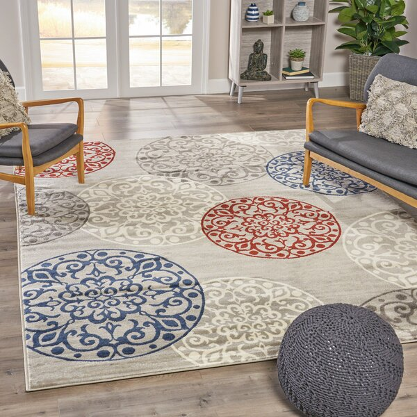 Brodhead Casual Shag Ivory/Blue Area Rug by Wrought Studio