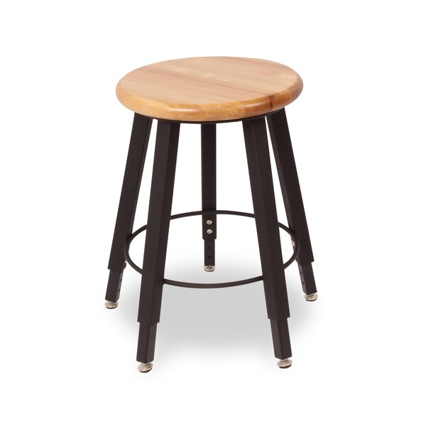 Adjustable Height Round Hardwood Seat 5 Leg Stool by WB Manufacturing