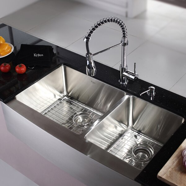Kitchen Combos 36 L x 21 W Double Basin Farmhouse/Apron Kitchen Sink with Faucet by Kraus