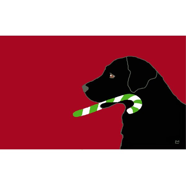 Lab with Candy Cane Rectangle Doormat by The Holiday Aisle