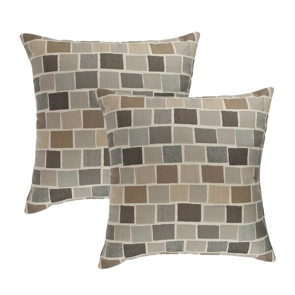 Blox Slate Outdoor Sunbrella Throw Pillow (Set of 2) by Austin Horn Classics