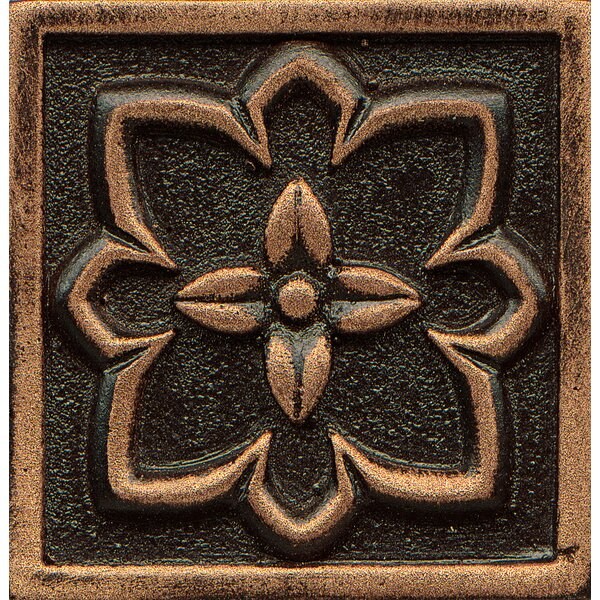 Ambiance Insert Romanesque 2 x 2 Resin Tile in Venetian Bronze by Bedrosians