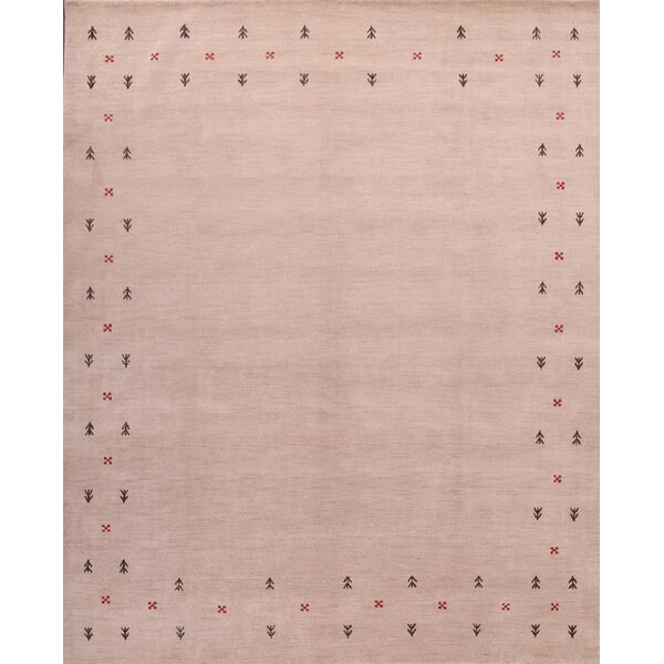 Flamingo Gabbeh Oriental Hand-Knotted Wool Beige/Ivory Area Rug by Bloomsbury Market
