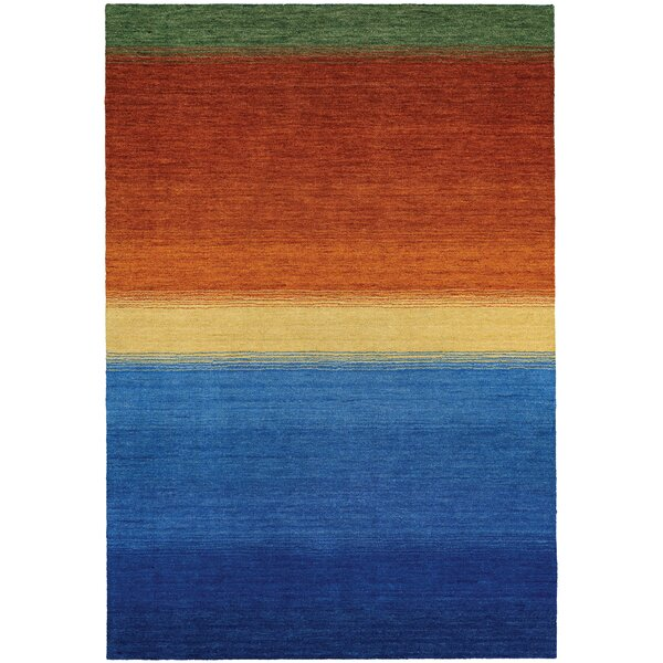 Cora Ocean Sunset Hand-Woven Blue/Burnt Orange Area Rug by Ebern Designs