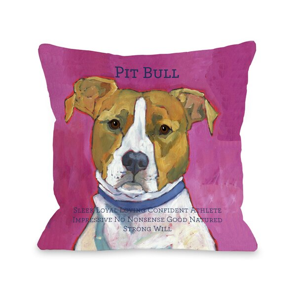 Doggy Décor Pittbull2 Throw Pillow by One Bella Casa