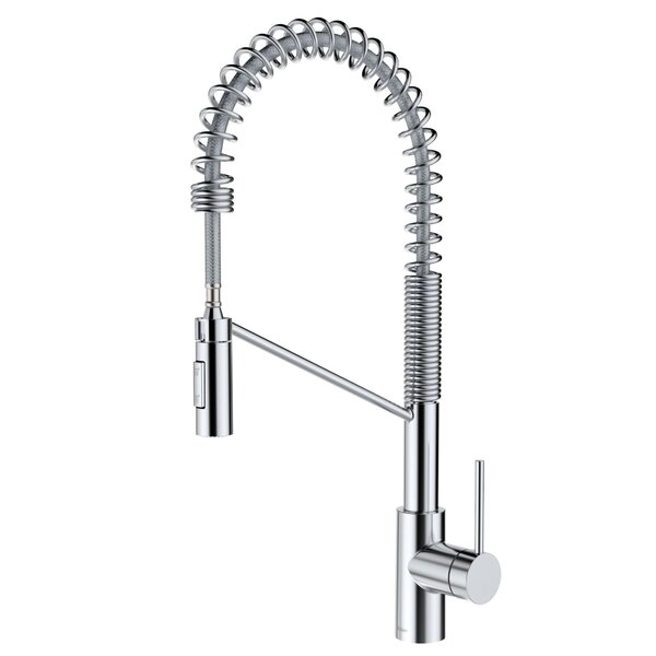 Moser Commercial Pull Down Single Handle Kitchen Faucet with QuickDock by Williston Forge