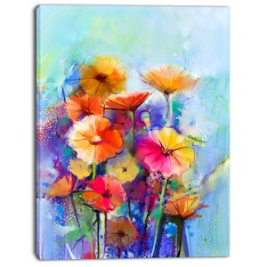 'Abstract Floral Watercolor' Painting Print on Wrapped Canvas by Design Art