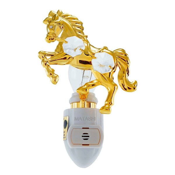 24K Gold Plated Horse Night Light by Matashi Crystal