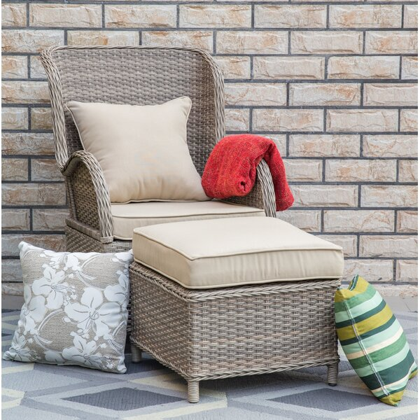 Temperance Patio Chair and Ottoman with Cushions by Highland Dunes