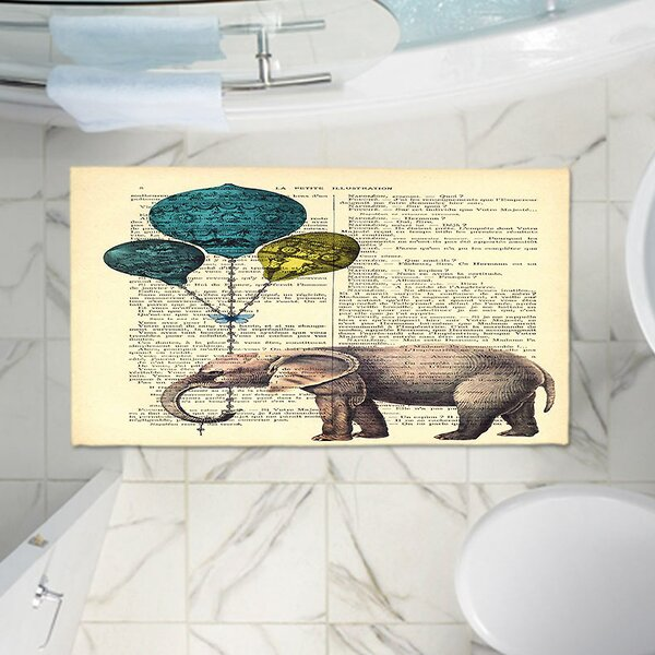 Elephant Balloons Memento Memory Foam Bath Rug by East Urban Home