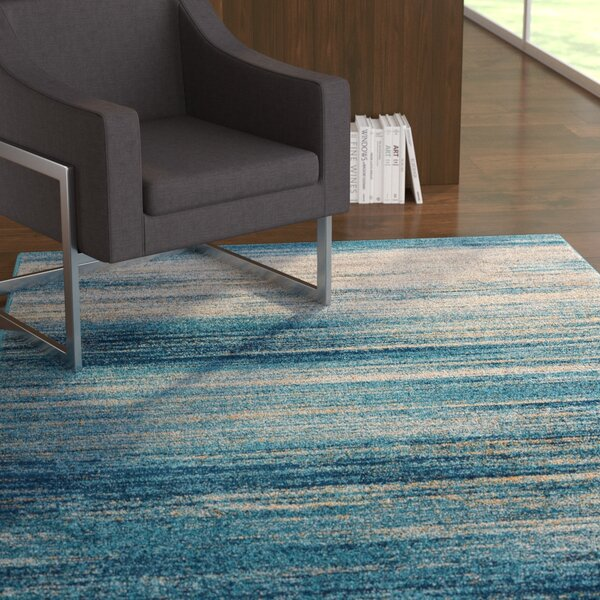 Angie Abstract Scandinavian Brush Strokes Blue/Gray Area Rug by Ebern Designs