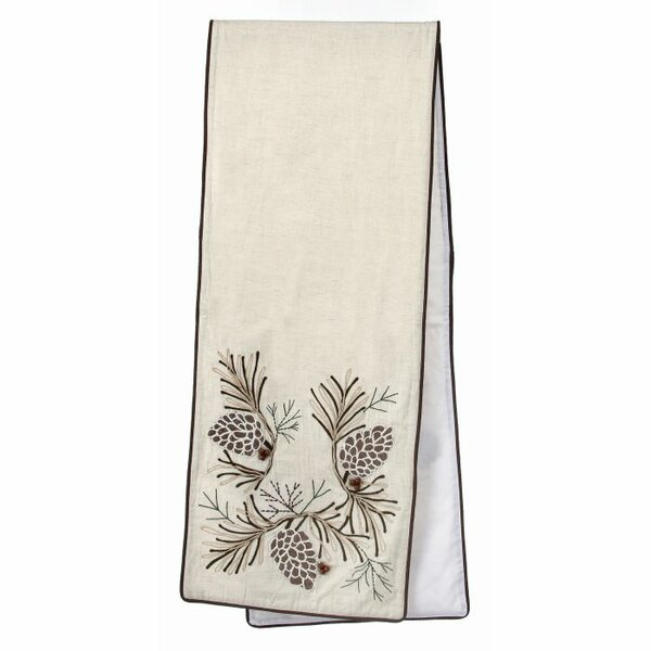 Chris Embroidered Pine Branch Table Runner by Loon Peak