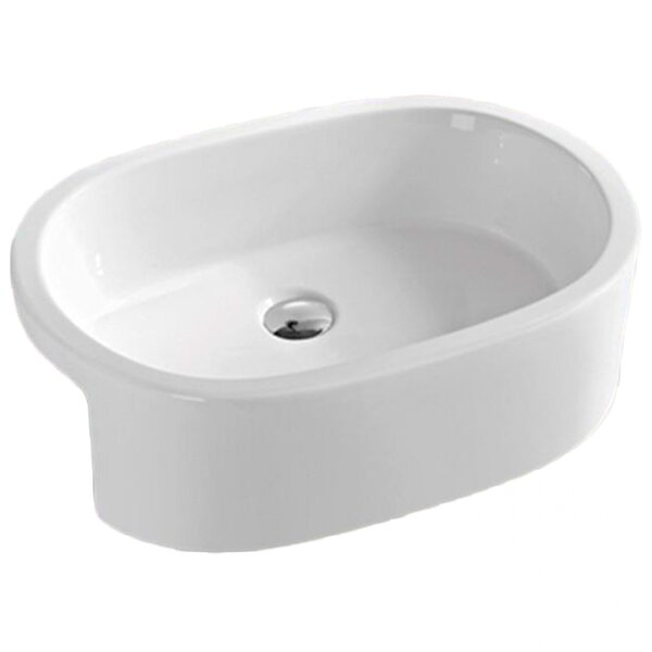 Above Counter for 1 Hole Center Drilling Ceramic Oval Vessel Bathroom Sink
