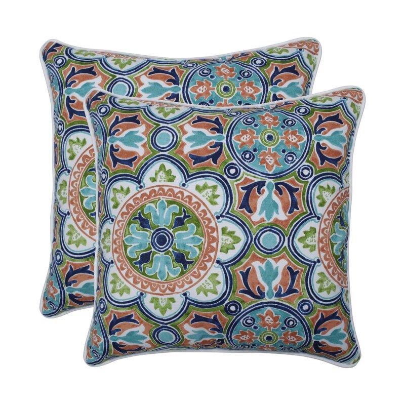 Huizenga Tile Flamingo Indoor/Outdoor Throw Pillow