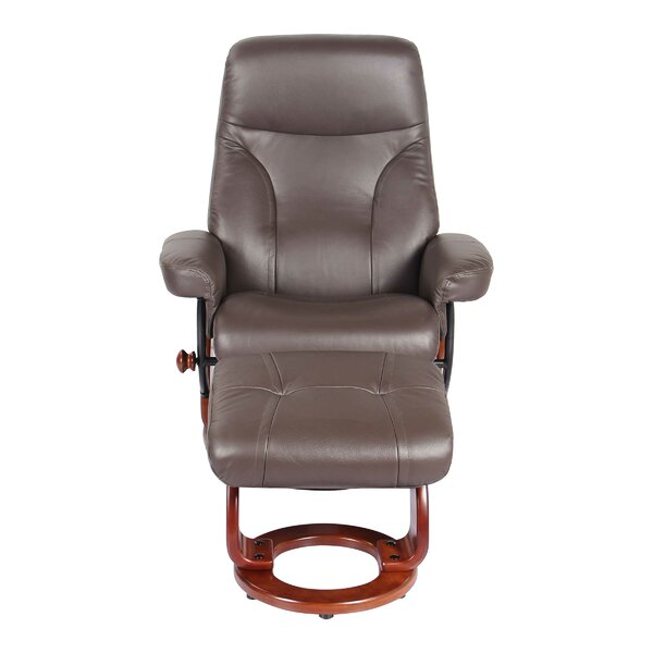 Moree Leather Manual Recliner with Ottoman Red Barrel Studio W000356196