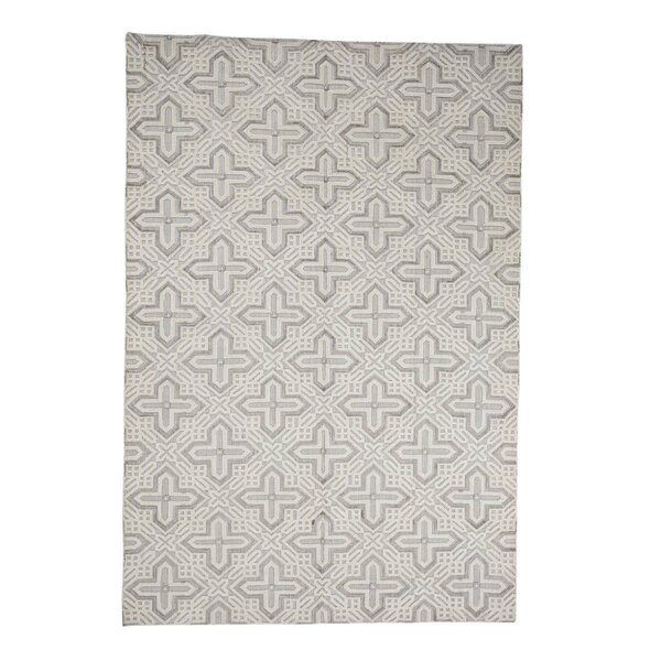 One-of-a-Kind Harkless Repetitive Oriental Hand-Knotted Ivory Area Rug by World Menagerie