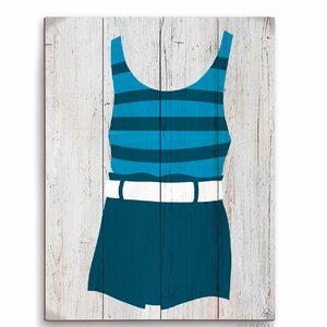 'Vintage Blue Striped Beach Outfit' Illustration Graphic Art Plaque by Beachcrest Home