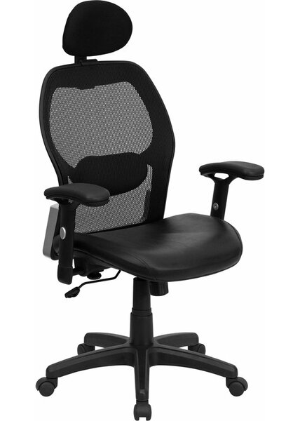 Krout High-Back Ergonomic Mesh Leather Executive Chair by Symple Stuff