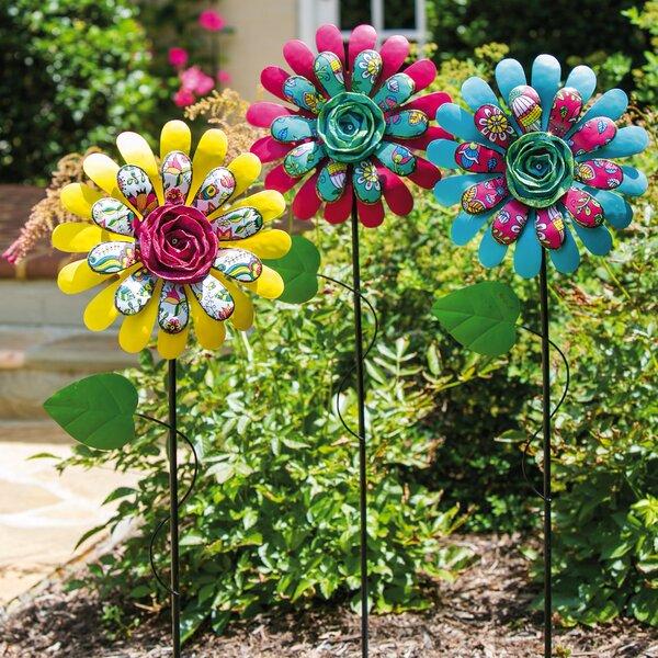 Dimensional Flower Garden Stake (Set of 3) by Evergreen Enterprises, Inc