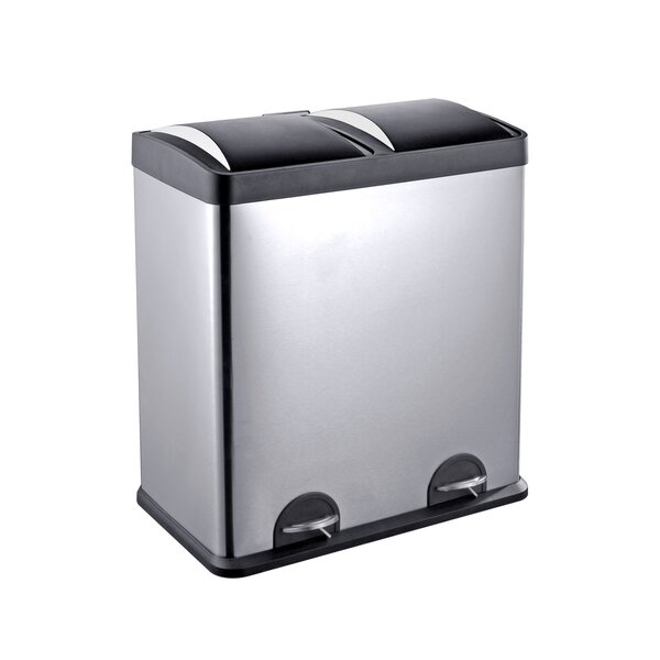 Stainless Steel 2-Compartment 16 Gallon Trash Can by Step N Sort