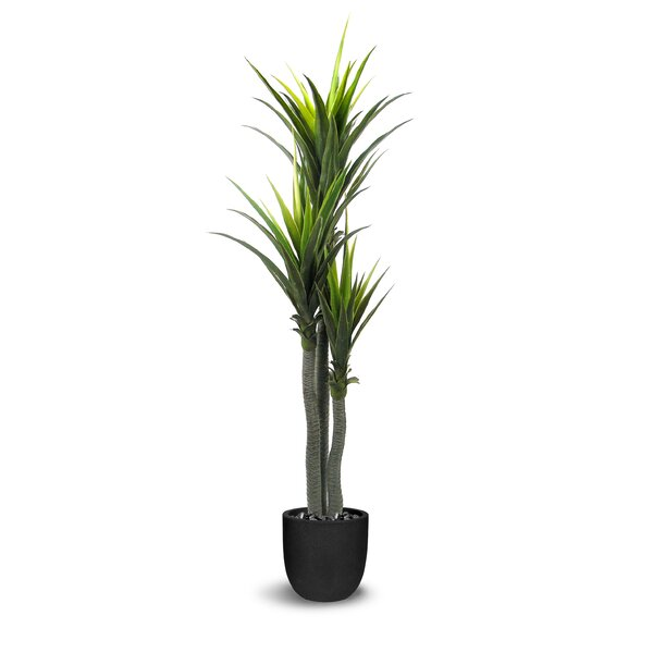 Dracaena Artificial Three Trunks Green Tree in Round Tapered Pot by World Menagerie