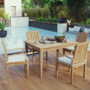 Cobb 5 Piece Teak Dining Set with Cushions By Rosecliff Heights