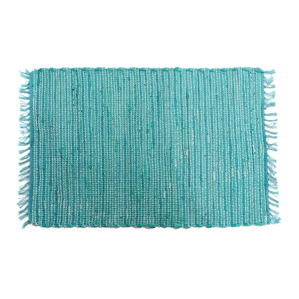 Anh Hand-Woven Cotton Turquoise Area Rug by Highland Dunes