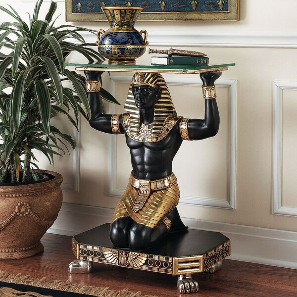 Servant To The Pharaoh Glass Topped Console Table By Design Toscano