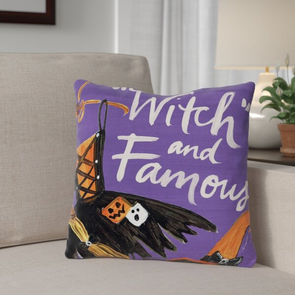 Halloween Witch and Famous Throw Pillow by The Holiday Aisle