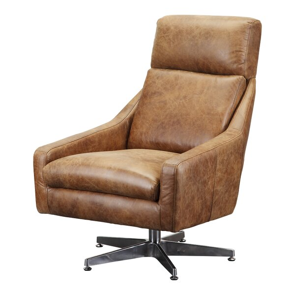Darshan Leather Swivel Side Chair by Union Rustic