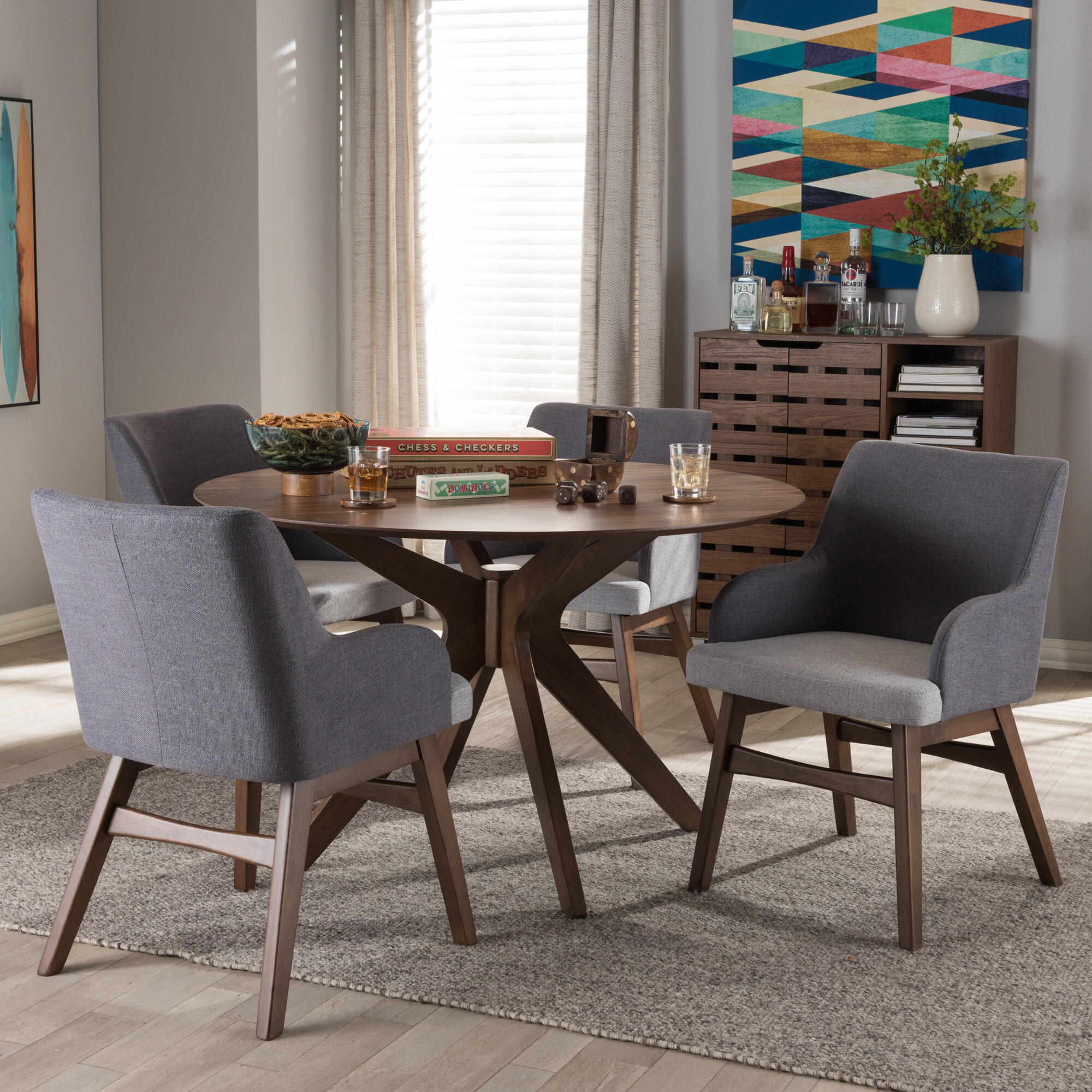 Monte Mid Century Modern Wood Round 5 Piece Dining Set Reviews